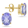 Natural 6x4mm Tanzanite Oval-Shaped Stud Earrings, 14K Yellow Gold