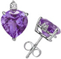 Heart-Cut Amethyst and Diamond Stud Earrings in 14K White Gold