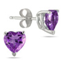 Natural Heart-Shaped Amethyst Earrings, 14K White Gold (6mm)