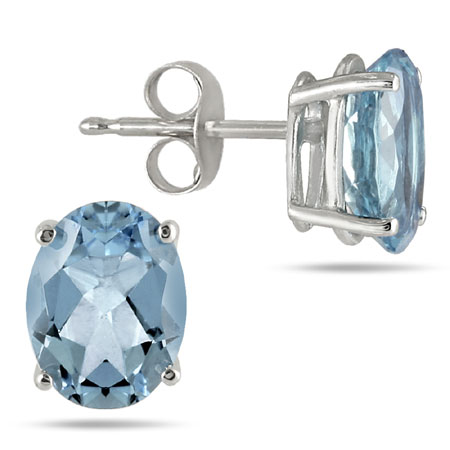 Natural Oval Aquamarine Gemstone Stud Earrings, 14K White Gold (6x4mm)