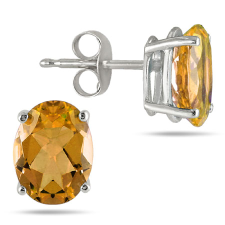 Natural Oval Citrine Stud Earrings Made in 14K White Gold (6x4mm)