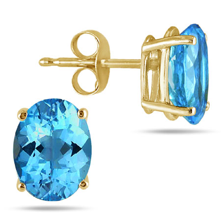 Oval 6mmx4mm Blue Topaz Stud Earrings Crafted in 14K Yellow Gold