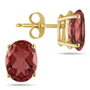 Oval-Shaped Garnet 6x4mm Earrings Set in 14k Yellow Gold