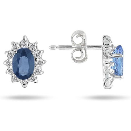 Precious Blue Sapphire and Diamond Flower Earrings