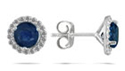 1 Carat Blue Sapphire and Diamond Halo Stud Earrings, 14K White Gold