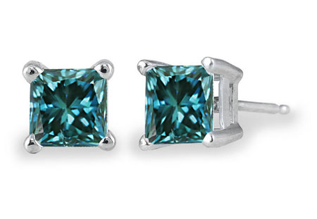 0.75 Carat Blue Diamond Princess-Cut Stud Earrings, 14K White Gold