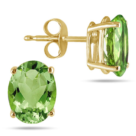 Real 6x4mm Oval Peridot Earrings Crafted in 14K Yellow Gold