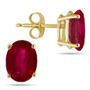 Real 6x4 mm Oval Ruby Stud Earrings in 14k Yellow Gold