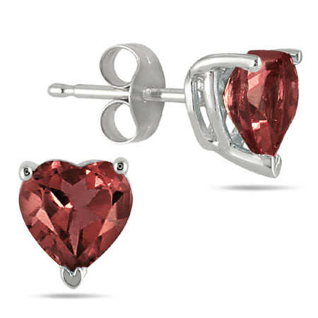 Heart-Shaped 4mm Garnet Studs in 14K White Gold