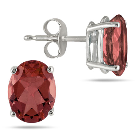 Real Oval 6x4mm Garnet Stud Earrings in 14K White Gold