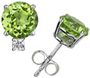 Real Peridot and Diamond Stud Earrings in 14K White Gold