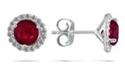 1 Carat Ruby Diamond Halo Stud Earrings, 14K White Gold