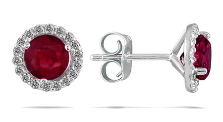 1 Carat Ruby Diamond Halo Stud Earrings, 14K White Gold