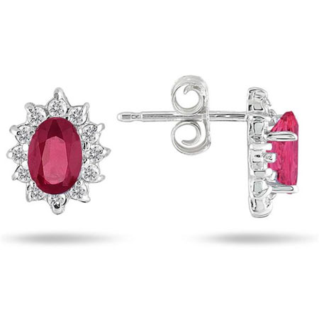 Real Ruby and Diamond Flower Earrings