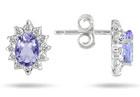 Real Tanzanite and Diamond Flower Earrings