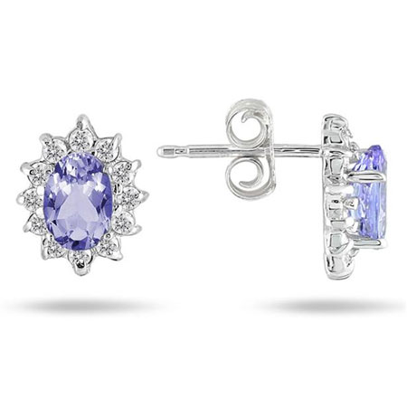 Real Tanzanite and Diamond Flower Earrings