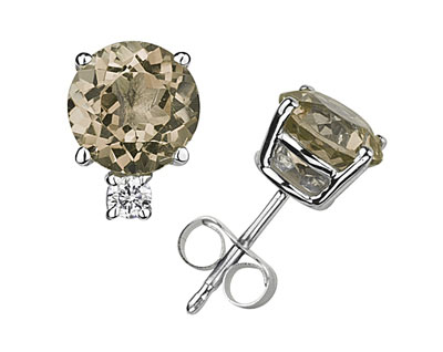 Round Smokey Quartz and Diamond Stud Earrings, 14K White Gold