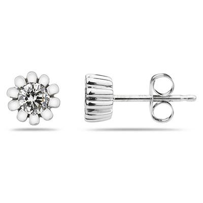 Diamond Flower Stud Earrings, 10K White Gold