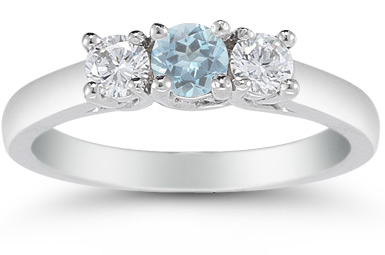 Three Stone Aquamarine and Diamond Ring, 14K White Gold