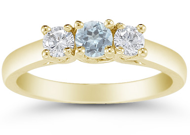 Three Stone Aquamarine and Diamond Ring, 14K Gold