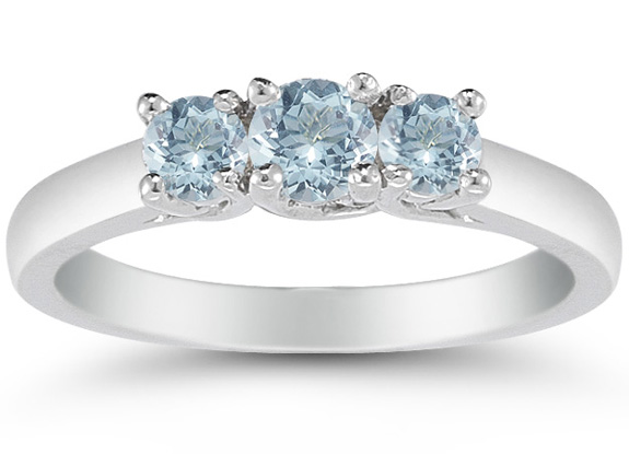 Three Stone Aquamarine Ring, 14K White Gold