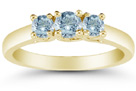Three Stone Aquamarine Ring, 14K Yellow Gold