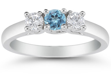 Three Stone Blue Topaz and Diamond Ring, 14K White Gold
