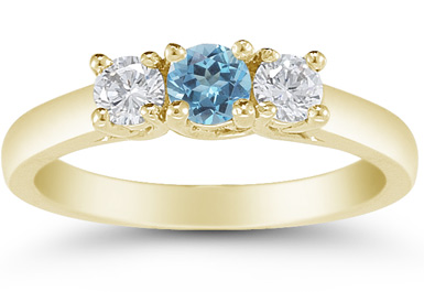 Three Stone Blue Topaz and Diamond Ring, 14K Gold