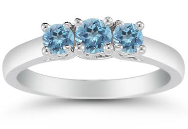 Three Stone Blue Topaz Ring, 14K White Gold