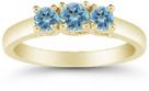 Three Stone Blue Topaz Ring, 14K Gold