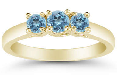 Three Stone Blue Topaz Ring, 14K Gold