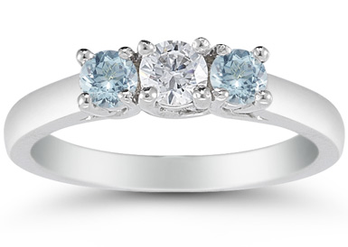 Three Stone Diamond and Aquamarine Ring, 14K White Gold