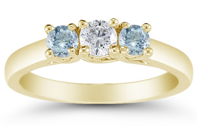 Three Stone Diamond and Aquamarine Ring, 14K Gold