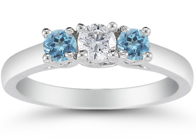 Three Stone Diamond and Blue Topaz Ring, 14K White Gold