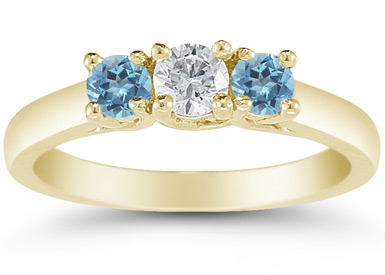Three Stone Diamond and Blue Topaz Ring, 14K Gold