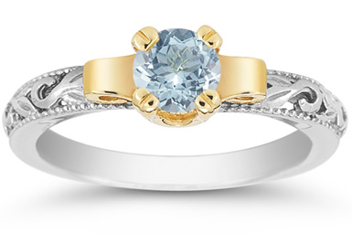Art Deco Aquamarine Engagament Ring, 1/2 Carat