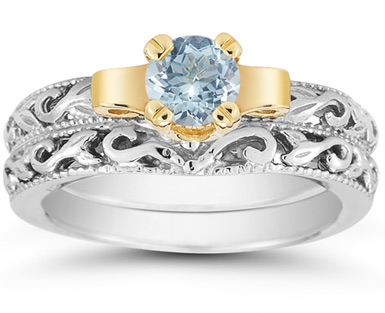 1 Carat Art Deco Aquamarine Bridal Ring Set