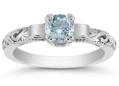 1/2 Carat Art Deco Aquamarine Engagement Ring, 14K White Gold