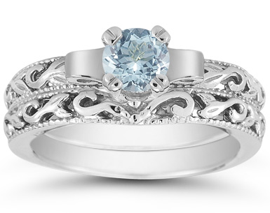 1/2 Carat Art Deco Aquamarine Bridal Ring Set, 14K White Gold