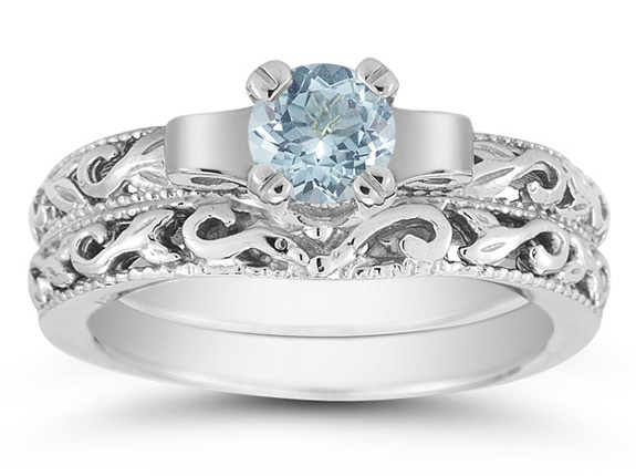 1 Carat Art Deco Aquamarine Bridal Ring Set, 14K White Gold