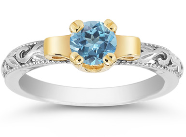 Art Deco Blue Topaz Engagement Ring, 1/2 Carat
