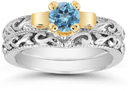 1 Carat Art Deco Blue Topaz Bridal Ring Set