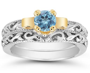 1/2 Carat Art Deco Blue Topaz Bridal Ring Set