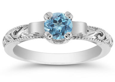 Art Deco Blue Topaz Engagement Ring, 14K White Gold
