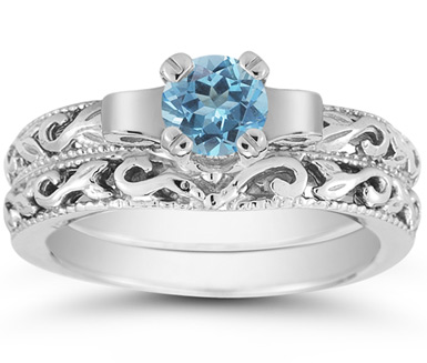 1 Carat Art Deco Blue Topaz Bridal Ring Set, 14K White Gold