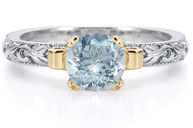 1 Carat Art Deco Aquamarine Engagement Ring