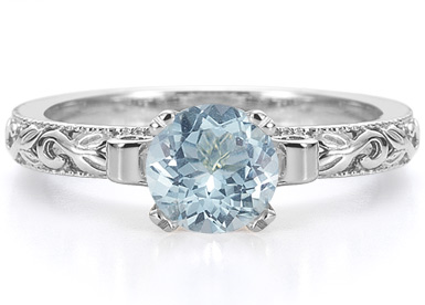 1 Carat Art Deco Aquamarine Engagement Ring, 14K White Gold