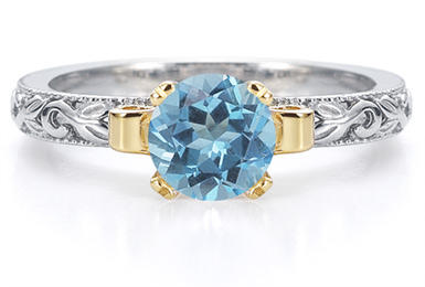 1 Carat Art Deco Blue Topaz Engagement Ring