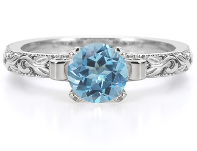 1 Carat Art Deco Blue Topaz Engagement Ring, 14K White Gold