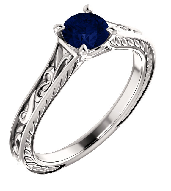 Blue Sapphire Scroll-Work Ring in 14K White Gold